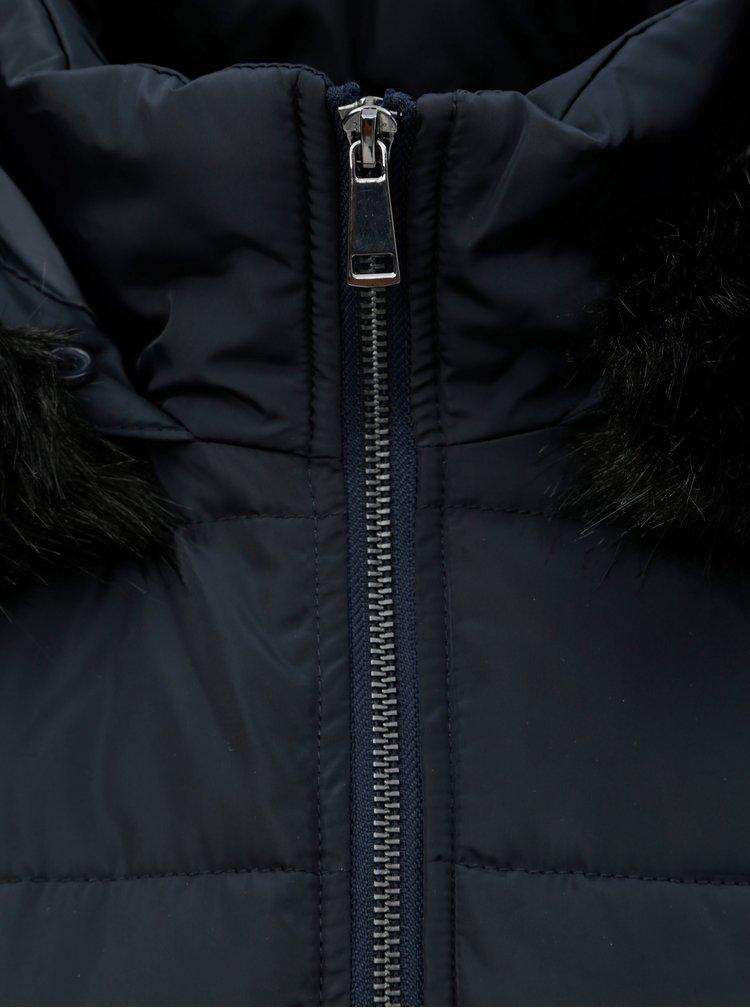 Pardesiu de iarna albastru inchis matlasat cu blana artificiala detasabila Dorothy Perkins Petite