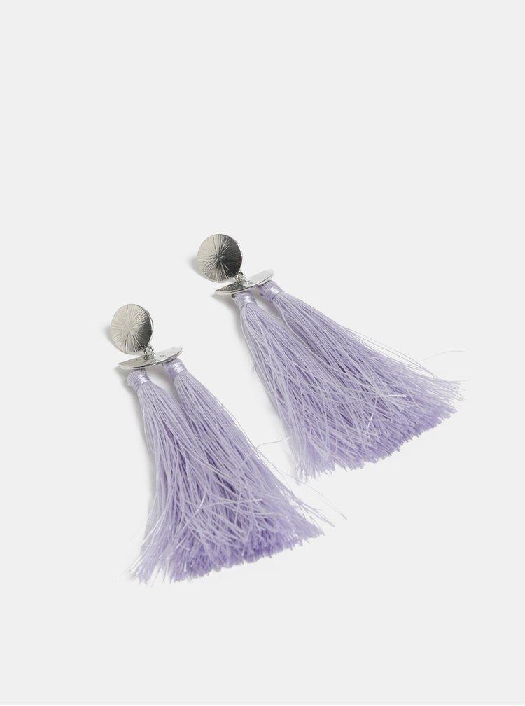 Fialové náušnice so strapcami Pieces Kasia