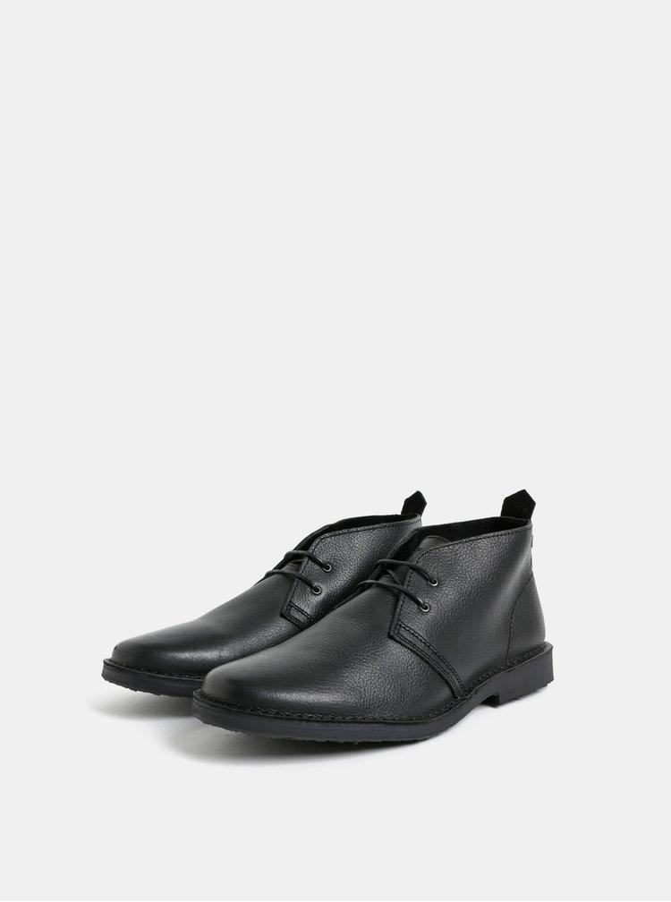 Černé pánské kožené kotníkové boty Jack & Jones Gobi