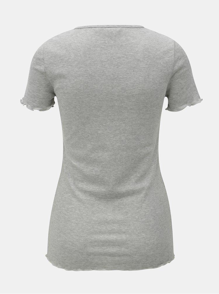 Šedé žíhané tričko s motivem srdcí Dorothy Perkins
