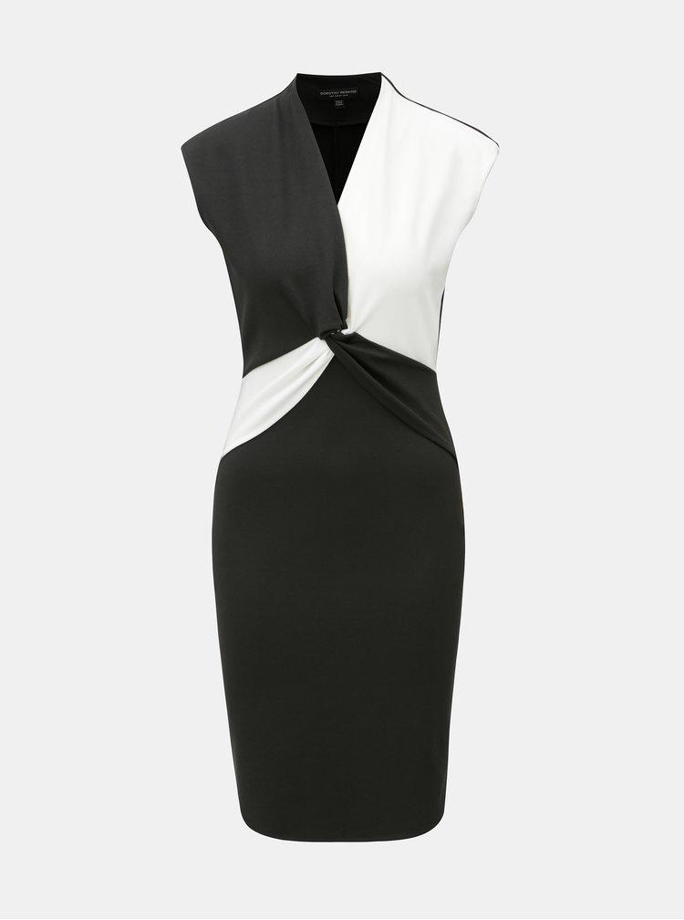 Bielo–čierne šaty s prekladaným výstrihom Dorothy Perkins
