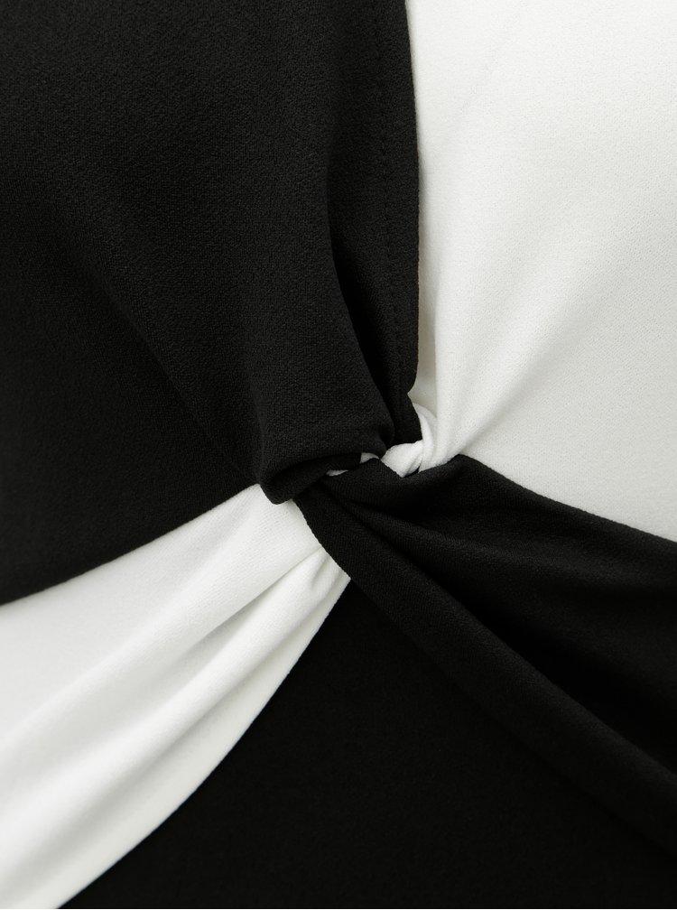 Rochie alb-negru cu decolteu suprapus Dorothy Perkins