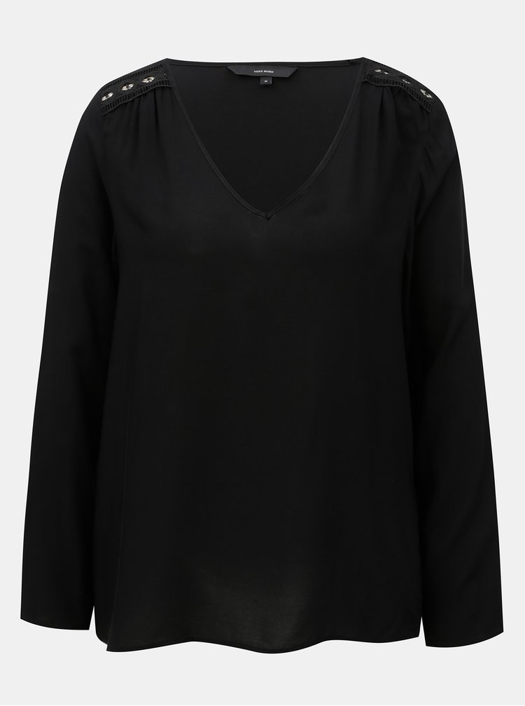 Bluza neagra cu detalii din dantela VERO MODA Susan