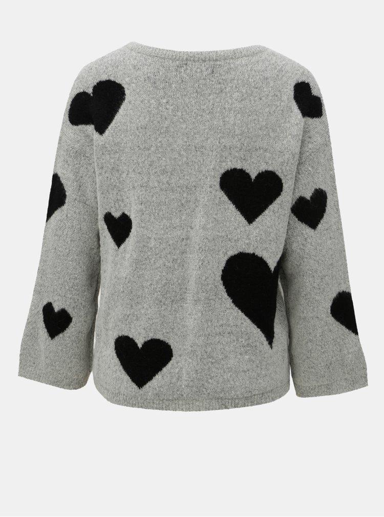 Černo-šedý vzorovaný svetr s véčkovým výstřihem Jacqueline de Yong Melange