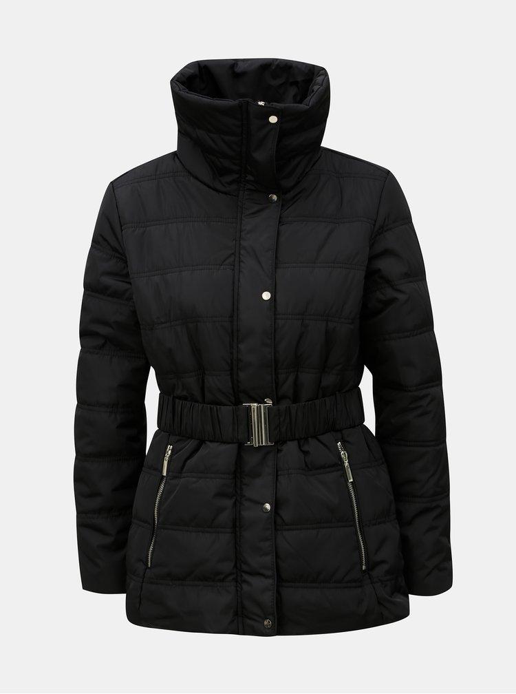 Jacheta de iarna neagra cu guler detasabil din blana artificiala Dorothy Perkins Petite