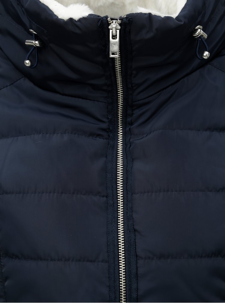 Jacheta albastru inchis matlasata cu guler inalt Dorothy Perkins Petite