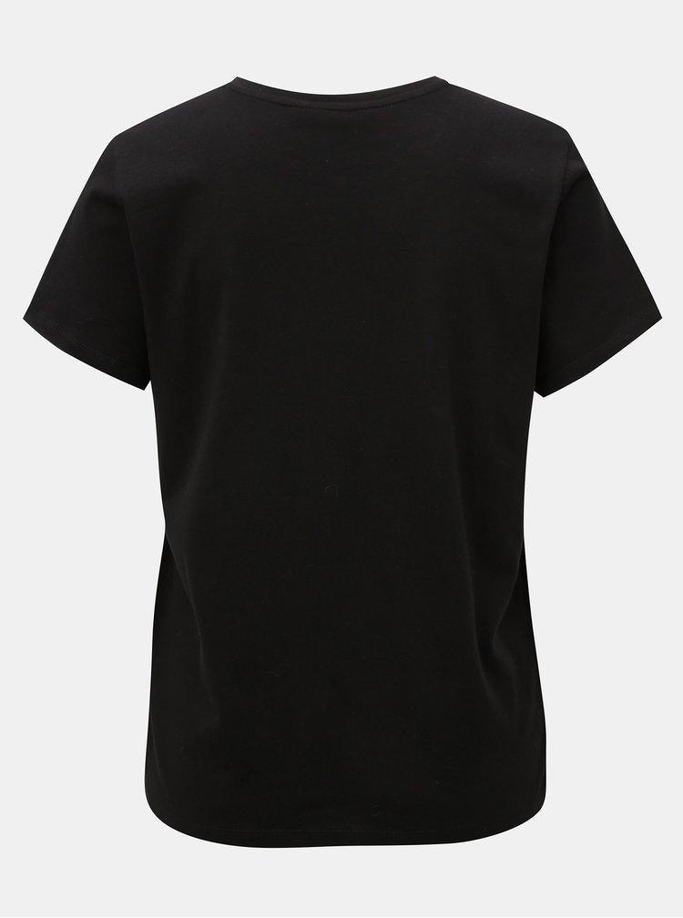 Černé tričko s potiskem ONLY Magga