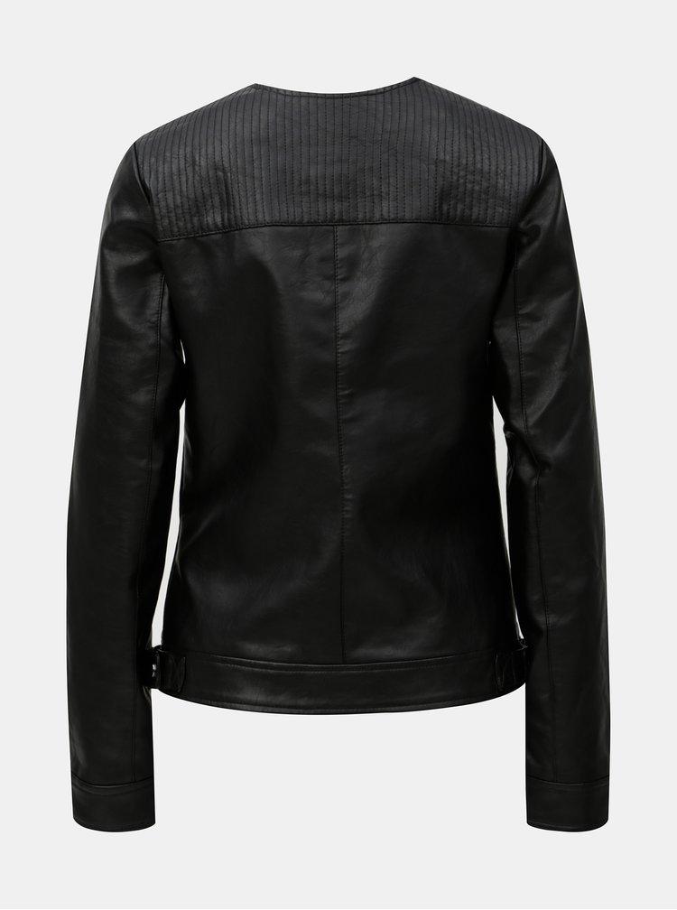 Černá koženková bunda s detaily ve stříbrné barvě Dorothy Perkins Tall