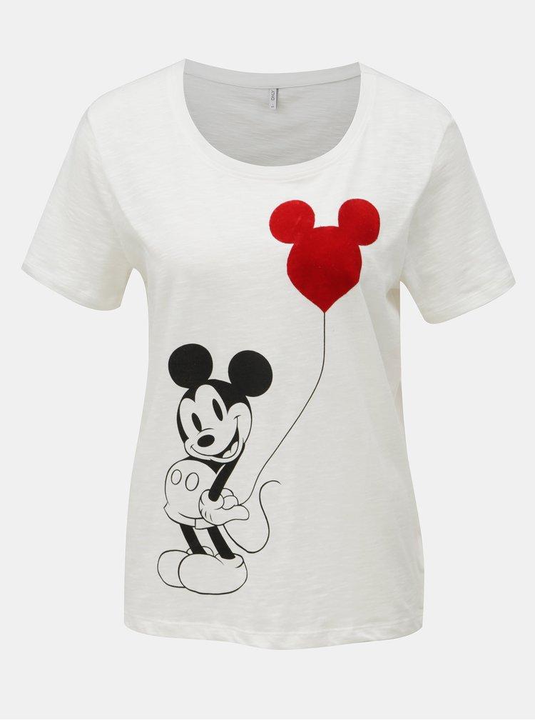 Tricou alb cu maneci scurte ONLY Mickey