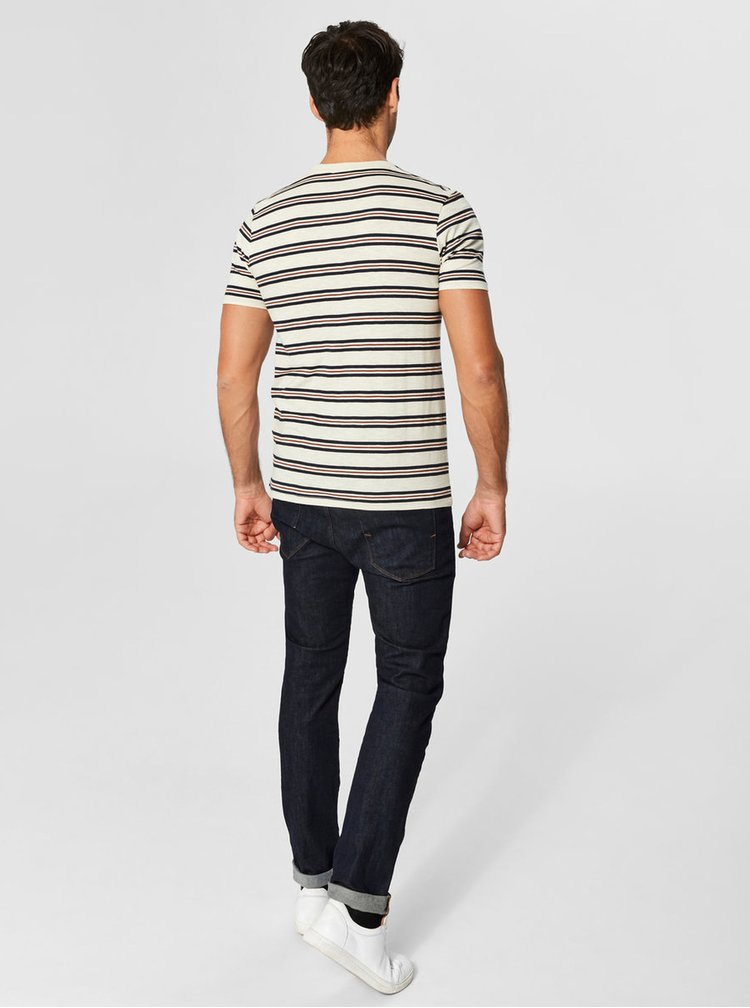 Tricou albastru-bej in dungi Selected Homme Bruno