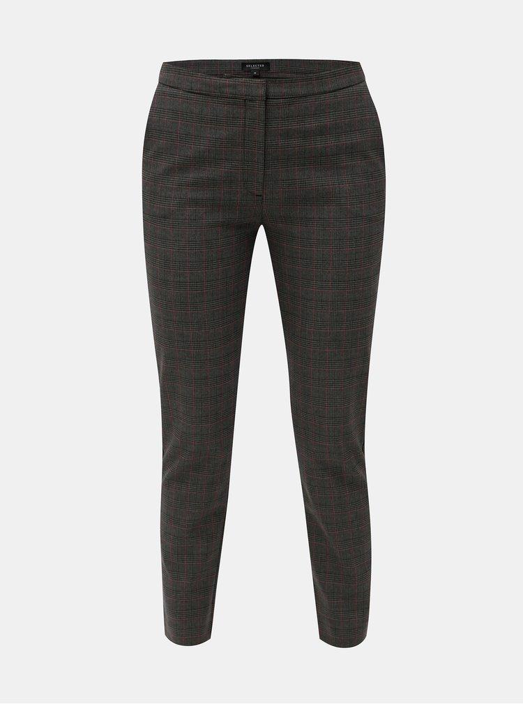 Tmavě šedé kostkované zkrácené kalhoty Selected Femme Musu
