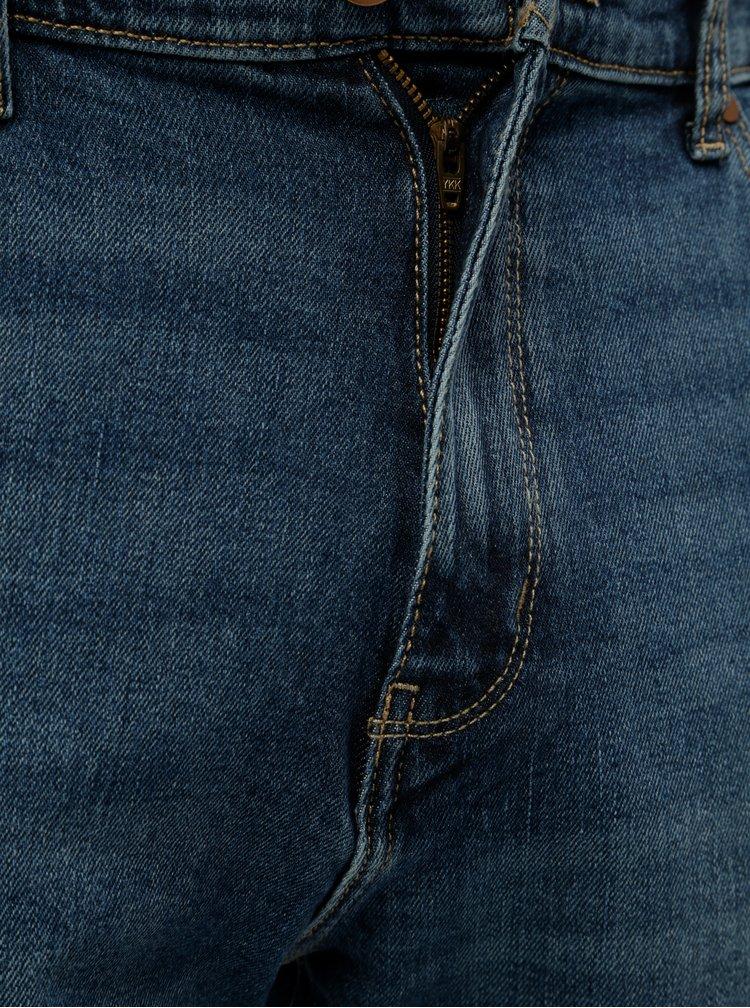 Blugi barbatesti albastri drepti din denim cu aspect prespalat Wrangler Arizona