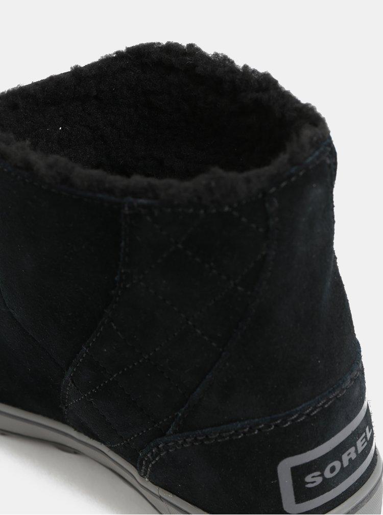 Cizme de dama de iarna negre impermeabile din piele intoarsa SOREL Glacy Short