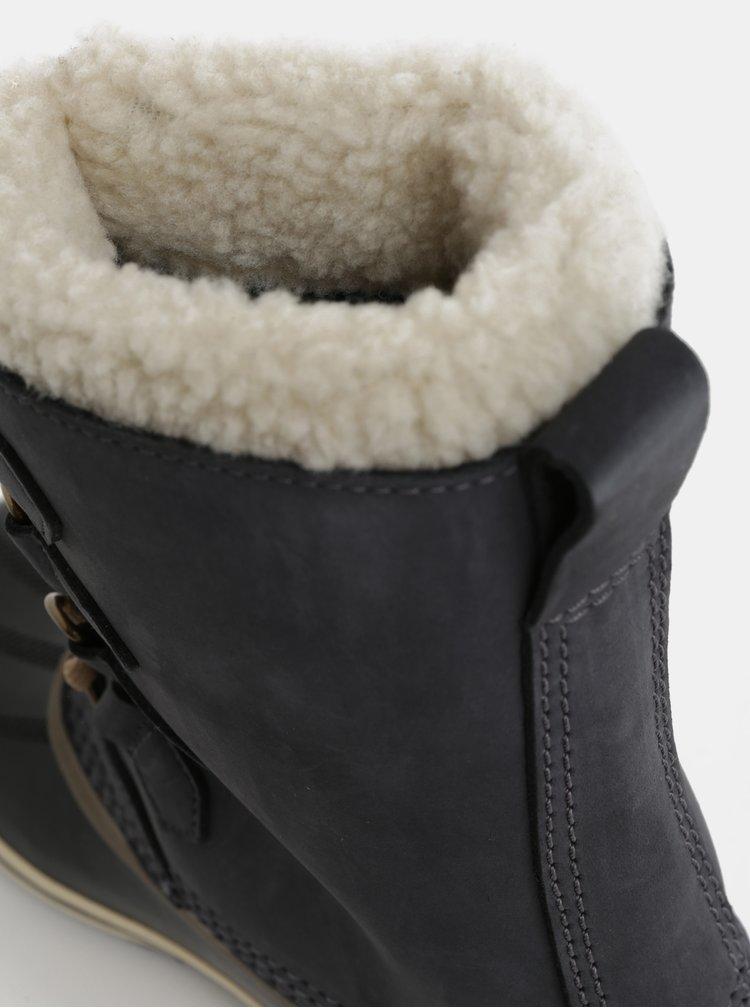 Cizme de dama de iarna gri inchis impermeabile din piele intoarsa SOREL 1964 Pac 2