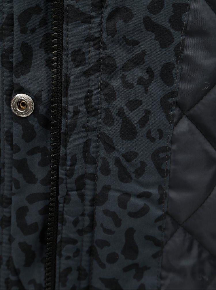 Geaca parka gri inchis de iarna cu model leopard si blana artificiala ONLY Ruby