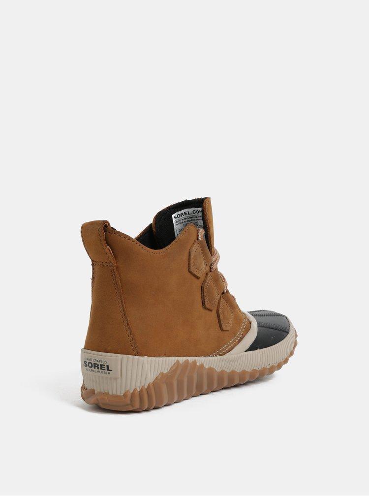 Hnědé dámské kožené voděodolné kotníkové boty SOREL Out n About Plus