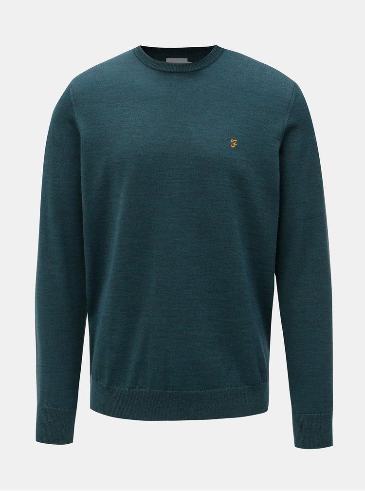 Zelený žíhaný lehký svetr z Merino vlny Farah Mullen