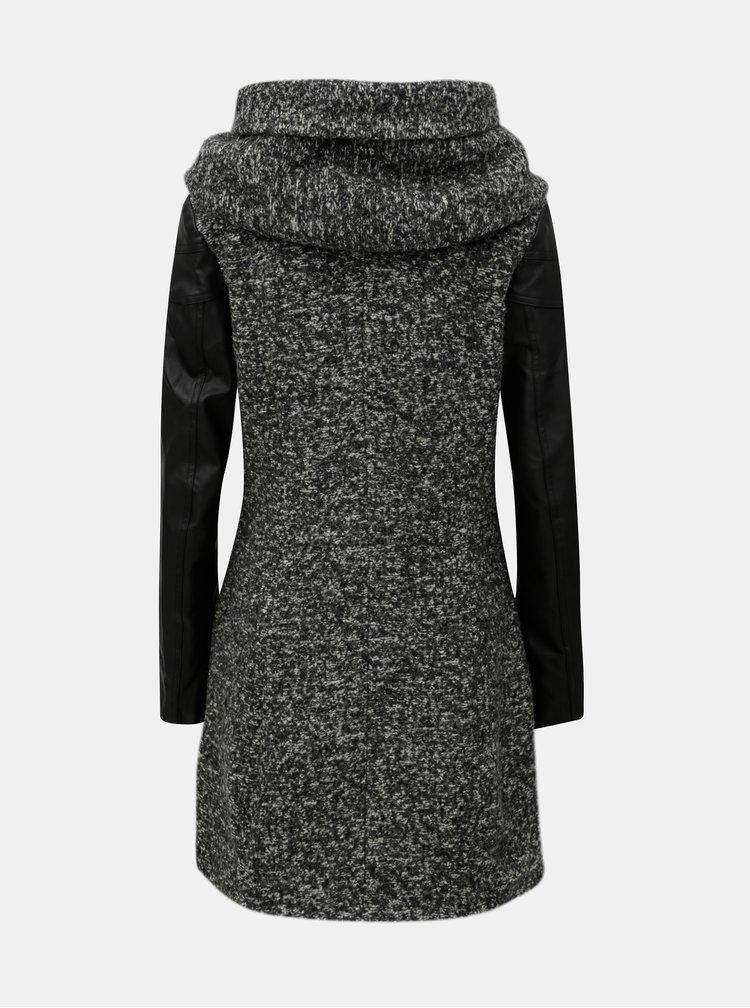 Šedý žíhaný kabát s příměsí vlny ONLY Lisa