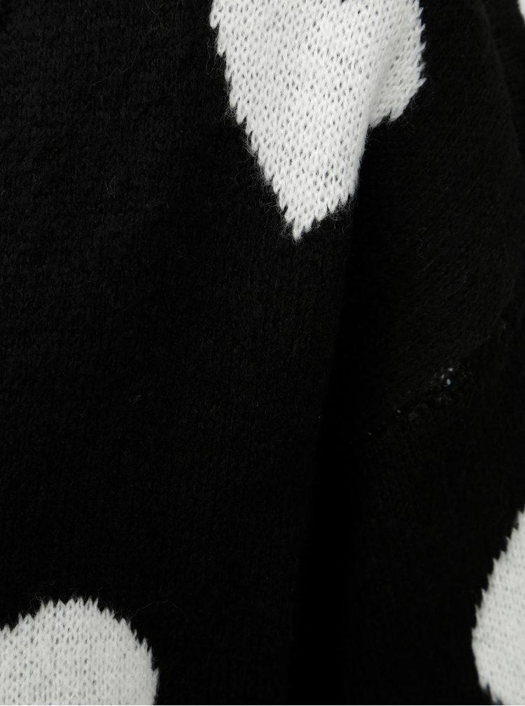 Pulover alb-negru cu model si decolteu in V Jacqueline de Yong Melange