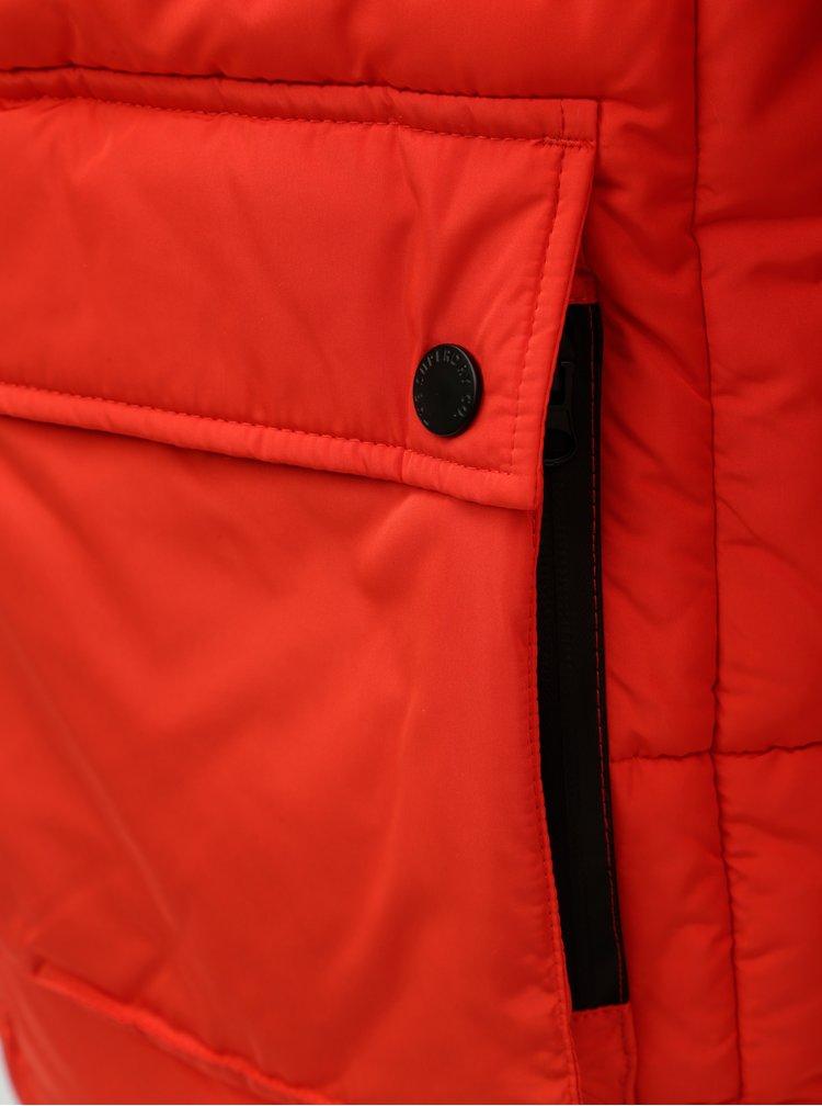 Červená pánská prošívaná bunda Superdry
