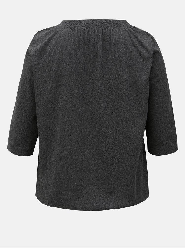 Šedé tričko s 3/4 rukávem Ulla Popken