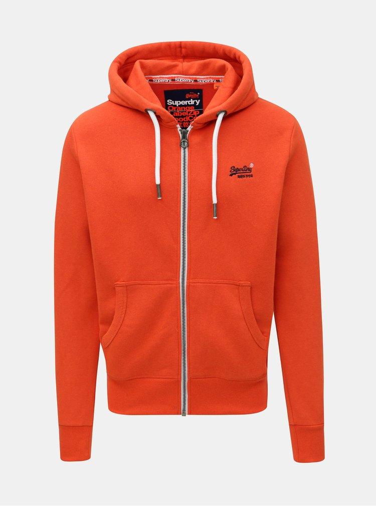 Oranžová pánská mikina s kapucí Superdry