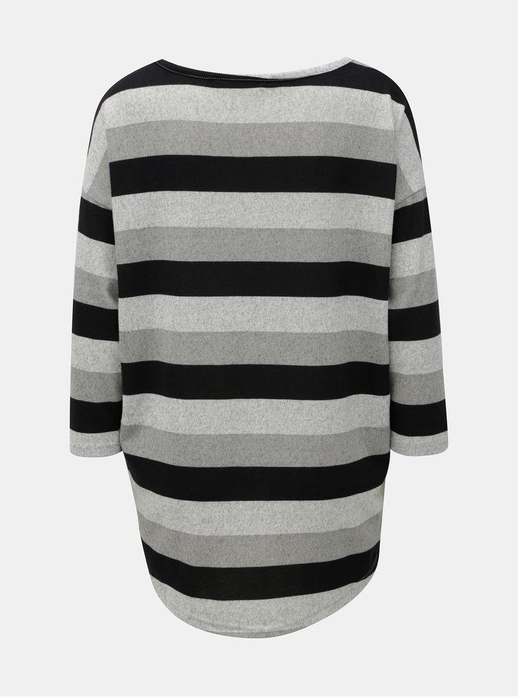 Černo-šedý žíhaný pruhovaný svetr ONLY