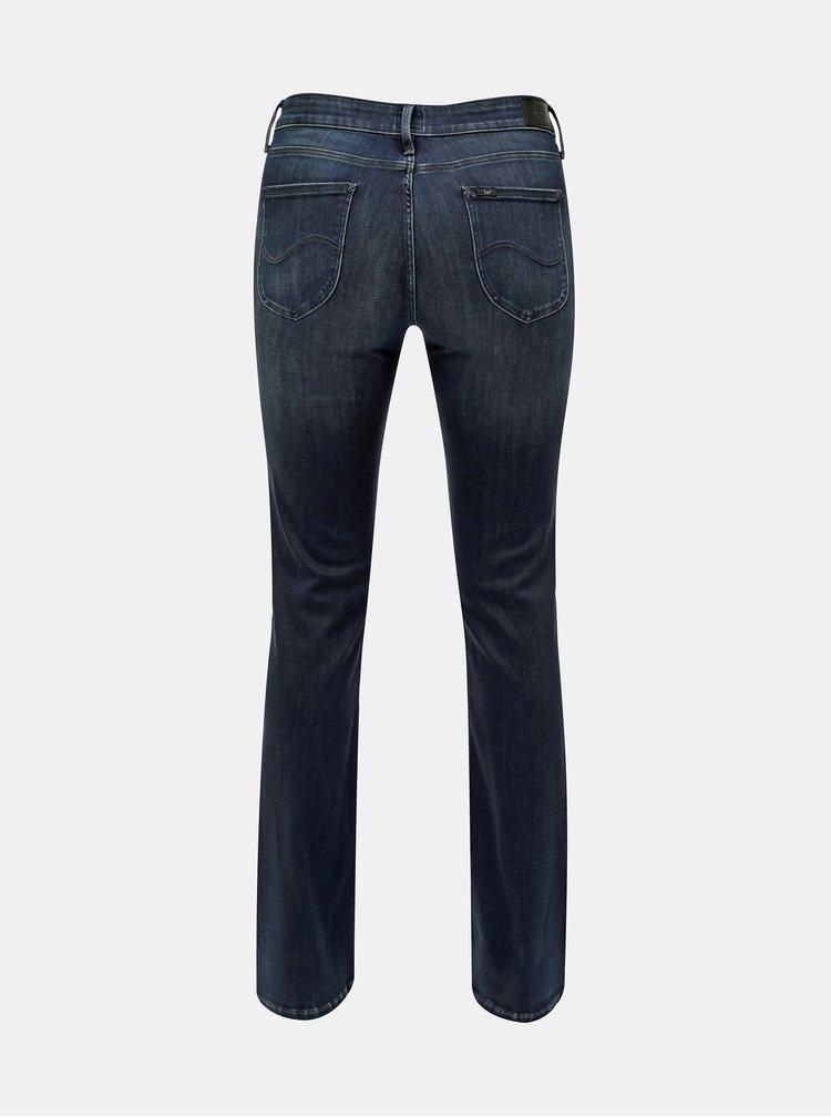 Tmavě modré dámské skinny bootcut džíny s vyšisovaným efektem Lee