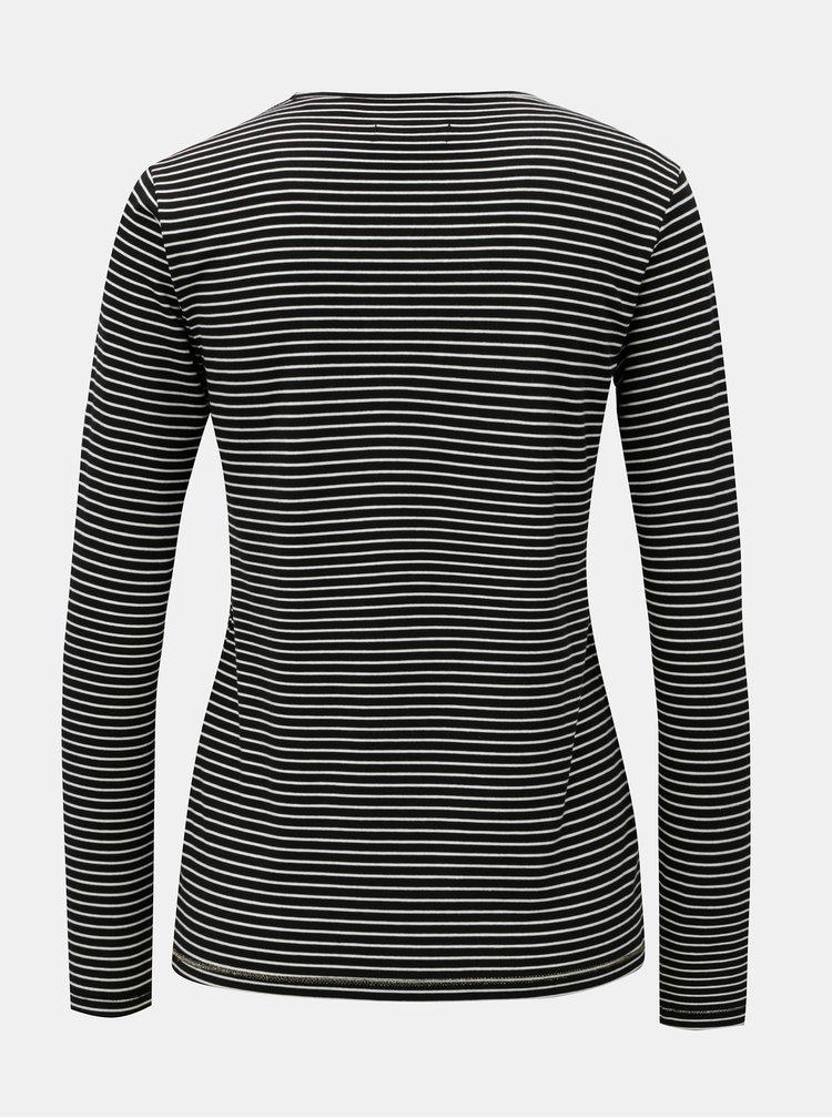Tricou de dama alb-negru in dungi Superdry