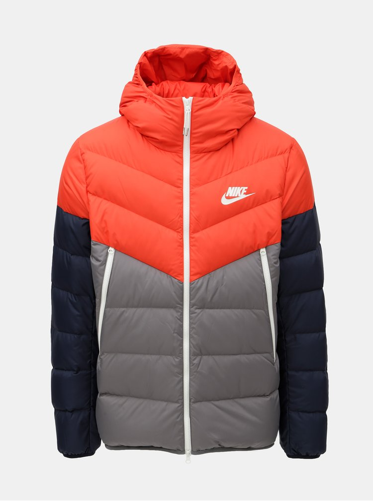 Šedo-červená pánská péřová bunda Nike Fill