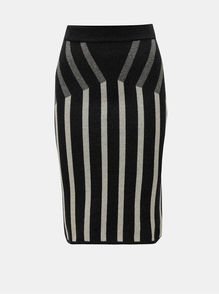 Béžovo-černá pruhovaná úpletová sukně SKFK Otille
