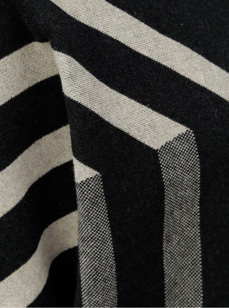 Béžovo-černý pruhovaný svetr SKFK Xare