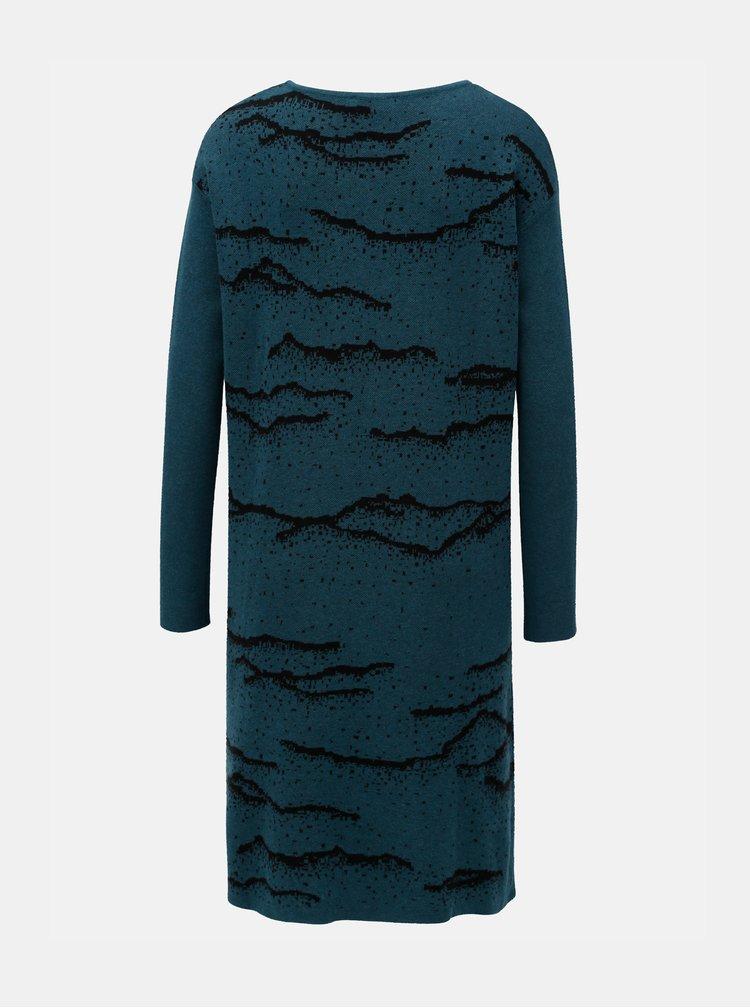 Rochie petrol tricotata cu model SKFK Euba