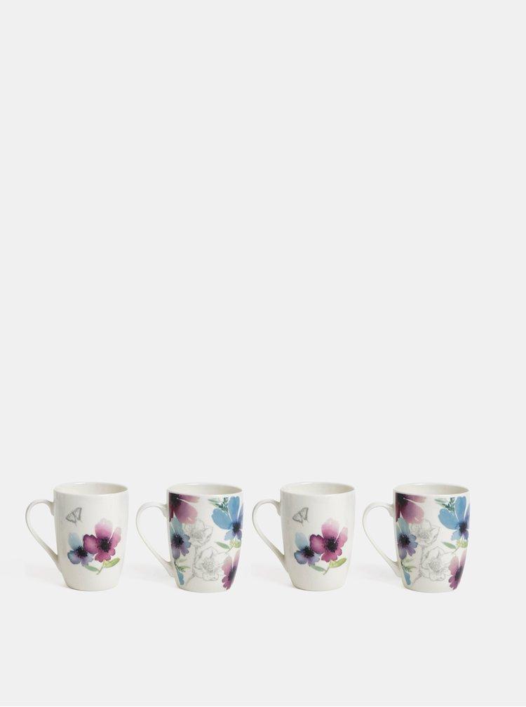 Sada čtyř hrnků v bílé barvě s květovaným vzorem Cooksmart