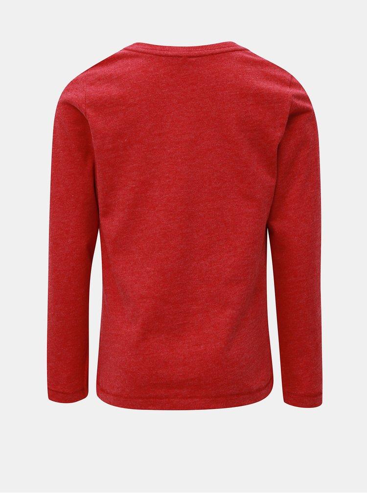 Červené žíhané tričko s dlouhým rukávem a nášivkami Name it Modion