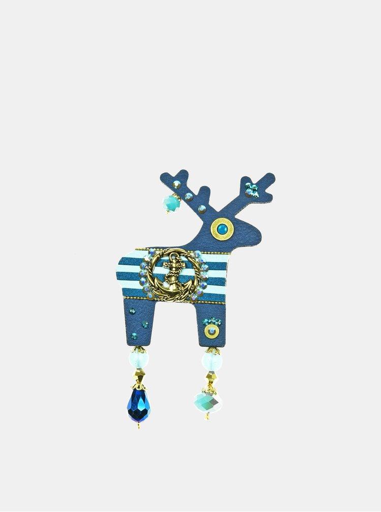 Tmavě modrá velká brož s pozlacenou kotvou Preciosa Components Deers