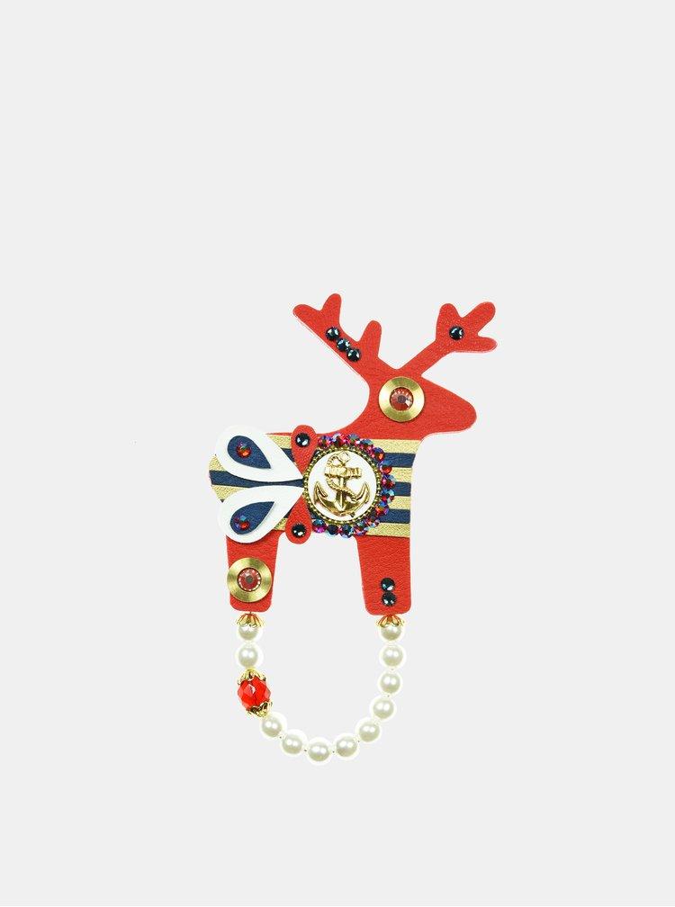 Červená velká brož s pozlacenou kotvou Preciosa Components Deers