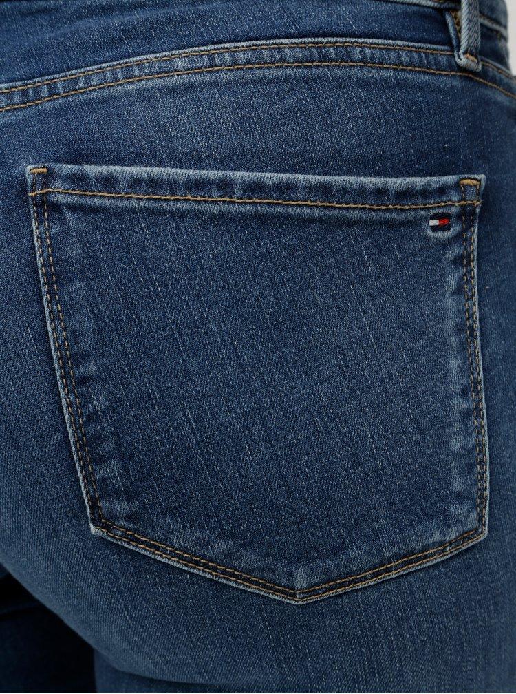 Modré dámské jegging fit džíny s výšivkou Tommy Hilfiger