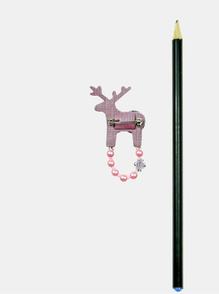 Fialová malá brož se zdobením Preciosa Components Deers