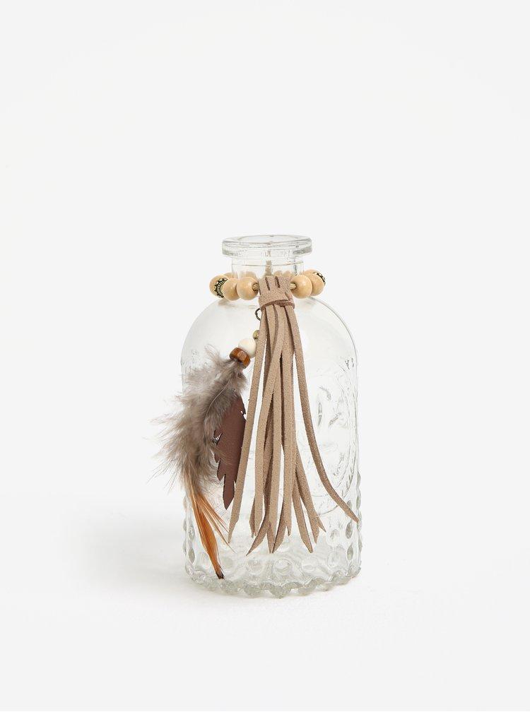 Transparentní malá dekorační skleněná lahev Kaemingk