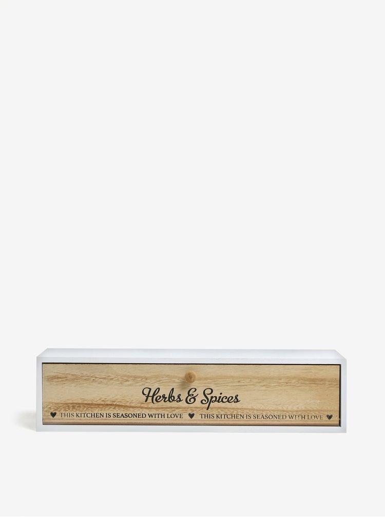 Bílý dřevěný úložný box na koření SIFCON