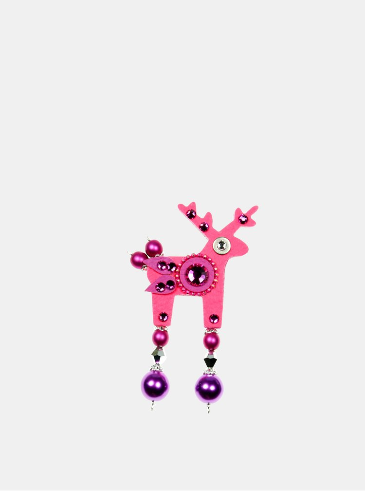 Neonově růžová malá brož s broušeným zdobením Preciosa Components Deers