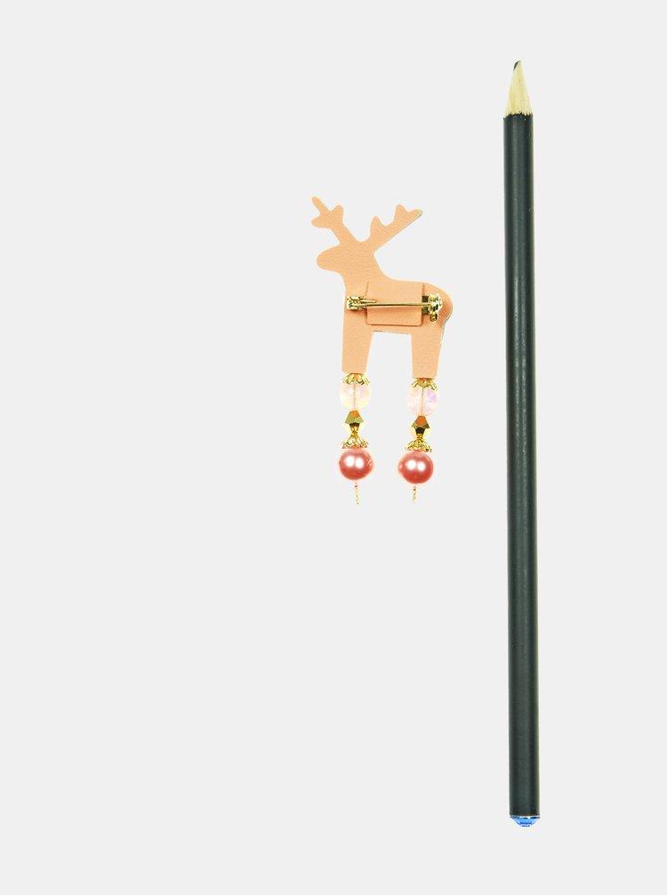 Meruňková malá brož s broušeným zdobením Preciosa Components Deers