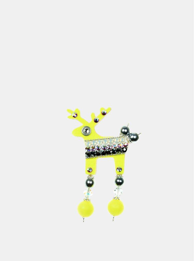 Neonově žlutá malá brož se zdobením proužků Preciosa Components Deers