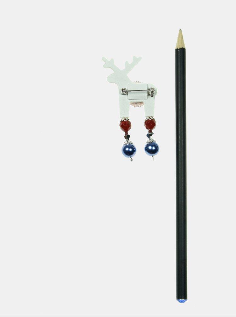 Bílá malá brož s postříbřenou kotvou Preciosa Components Deers