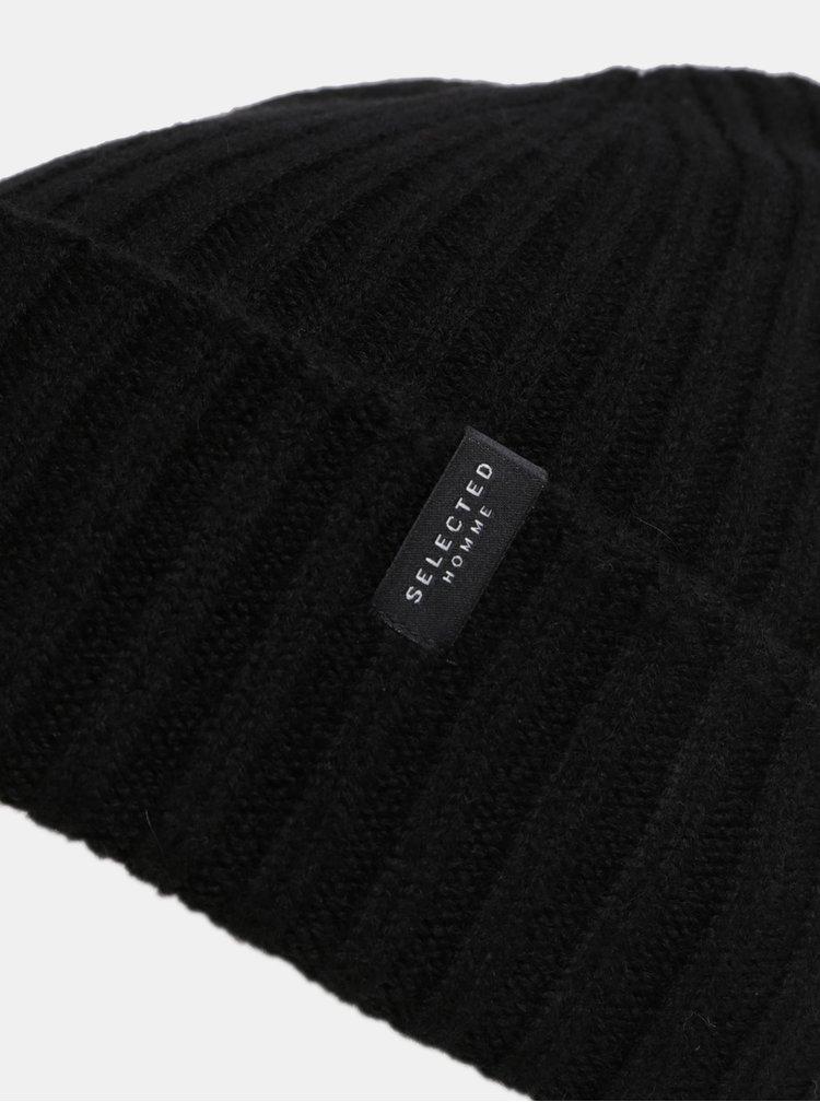 Černá pletená vlněná čepice Selected Homme