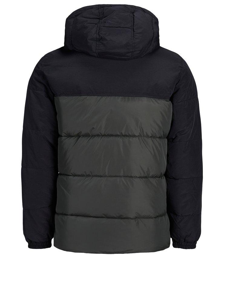 Čierno–zelená prešívaná bunda Jack & Jones Cross