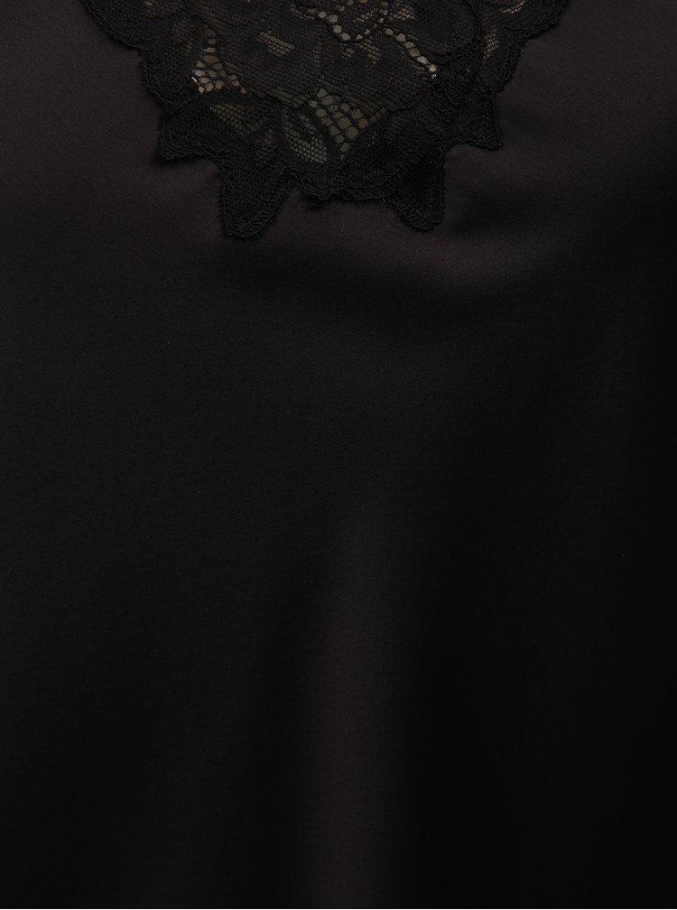 Camasa de noapte neagra din satin cu detalii din dantela Lauren Ralph Lauren