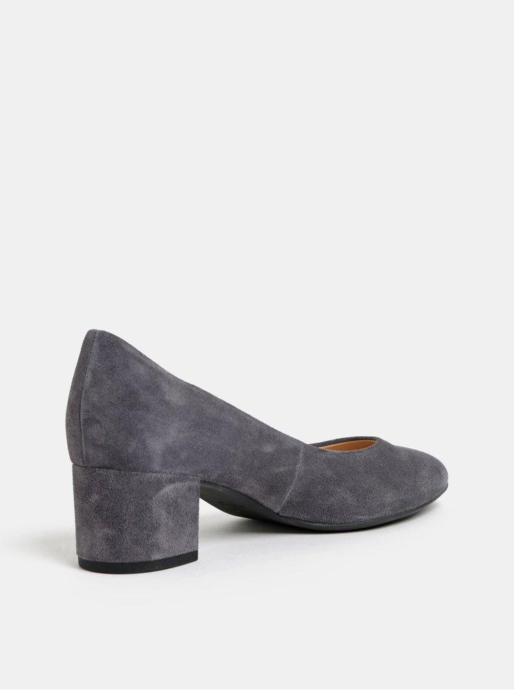 Pantofi gri din piele intoarsa cu toc mic Högl