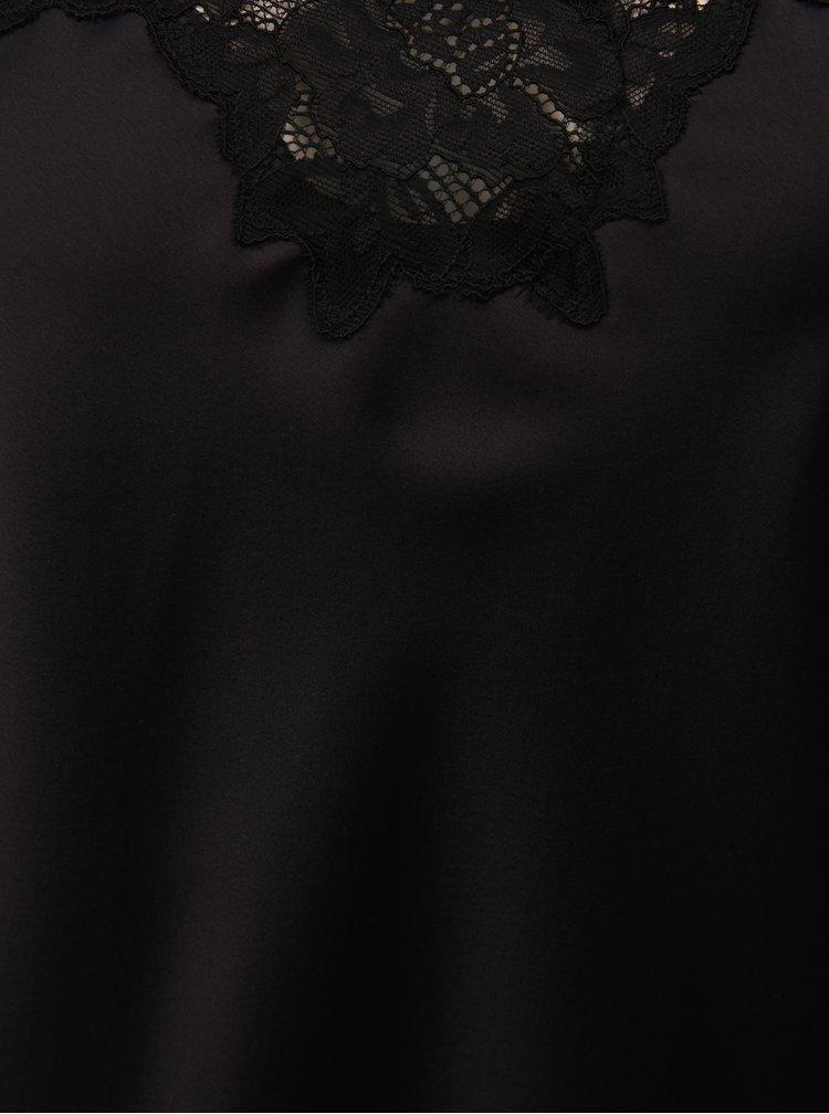 Pijama din 2 piese neagra din satin cu detalii din dantela Lauren Ralph Lauren